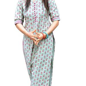 GoSriKi Women's Green Cotton Printed Straight Kurta