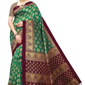 Anni Designer Women's Rama Color Banarasi Silk Saree